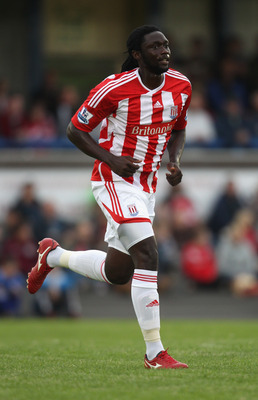 NEWCASTLE UNDER LYME, ENGLAND - JULY 20:  Kenwyne Jones of Stoke City looks on during the pre season friendly match between Newcastle Town and Stoke City on July 20, 2011 in Newcastle under Lyme, England.  (Photo by David Rogers/Getty Images)