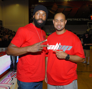 NORTHRIDGE, CA - JUNE 24:  Baron Davis and Ball Up CEO Demetrius Spencer (R) at the Ball Up Championship Game at Cal State Northridge on June 24, 2011 in Northridge, California.  (Photo by Mark Sullivan/Getty Images for Ball Up)