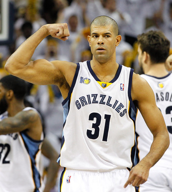MEMPHIS, TN - MAY 13:  Shane Battier #31 of the Memphis Grizzlies calls a defensive play against the Oklahoma City Thunder in Game Six of the Western Conference Semifinals in the 2011 NBA Playoffs at FedExForum on May 13, 2011 in Memphis, Tennessee.  NOTE