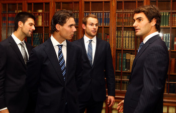 LONDON, ENGLAND - NOVEMBER 19:  (L-R) Novak Djokovic of Serbia, Rafeal Nadal of Spain, Andy Roddick of USA and Roger Federer of Switzerland have a chat during the ATP World Tour Tennis Finals Media Day at the County Hall Marriott Hotel on November 19, 201