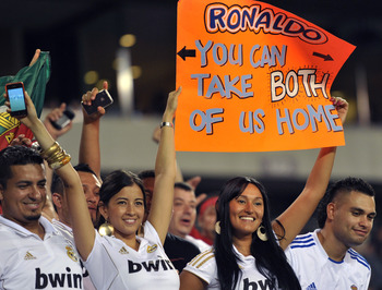 PHILADELPHIA, PA - JULY 23: Real Madrid fans cheer for Cristiano Ronaldo #7 during the game against the Philadelphia Union at Lincoln Financial Field on July 23, 2011 in Philadelphia, Pennsylvania. Real Madrid won 2-1. (Photo by Drew Hallowell/Getty Image