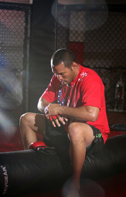 A pensive Dan Henderson prepares for battle.