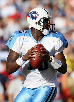 SAN DIEGO - OCTOBER 31:  Quarterback Vince Young #10 of the Tennessee Titans drops back to pass against the San Diego Chargers in the game at Qualcomm Stadium on October 31, 2010 in San Diego, California. The Chargers defeated the Titans 33-25.  (Photo by