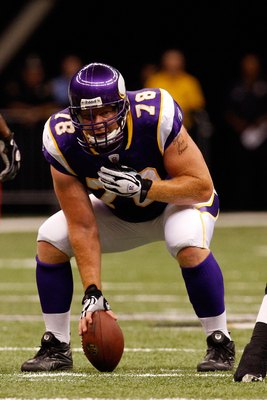 NEW ORLEANS - OCTOBER 06:  Matt Birk #78 of the Minnesota Vikings runs against the New Orleans Saints on October 6, 2008 at the Superdome in New Orleans, Louisiana.  (Photo by Chris Graythen/Getty Images)