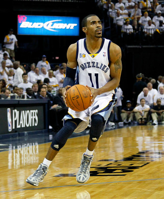 MEMPHIS, TN - MAY 13:  Mike Conley #11 of the Memphis Grizzlies against the Oklahoma City Thunder in Game Six of the Western Conference Semifinals in the 2011 NBA Playoffs at FedExForum on May 13, 2011 in Memphis, Tennessee.  NOTE TO USER: User expressly