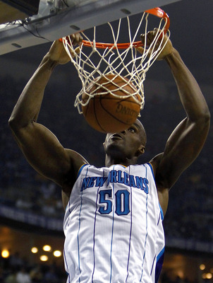 NEW ORLEANS - APRIL 24:  Emeka Okafor #50 of the New Orleans Hornets dunks against the Los Angeles Lakers in Game Four of the Western Conference Quarterfinals in the 2011 NBA Playoffs at New Orleans Arena on April 24, 2011 in New Orleans, Louisiana. NOTE