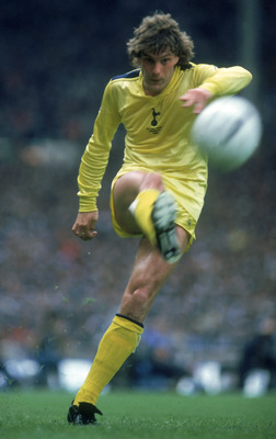 LONDON - MAY 22:  Glenn Hoddle of Tottenham Hotspur passes the ball during the FA Cup Final between Tottenham Hotspur and Queens Park Rangers held on May 22, 1982 at Wembley Stadium, in London. The match ended in a 1-1 draw after extra-time. (Photo by Ton