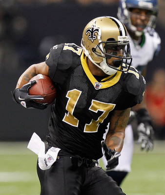 NEW ORLEANS - NOVEMBER 21:  Robert Meachem #17 of the New Orleans Saints against the Seattle Seahawks at Louisiana Superdome on November 21, 2010 in New Orleans, Louisiana.  (Photo by Kevin C. Cox/Getty Images)