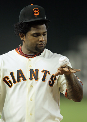 PHOENIX, AZ - JULY 12:  National League All-Star Pablo Sandoval #48 of the San Francisco Giants plays with a ball during batting practice before the start of the 82nd MLB All-Star Game at Chase Field on July 12, 2011 in Phoenix, Arizona.  (Photo by Jeff G