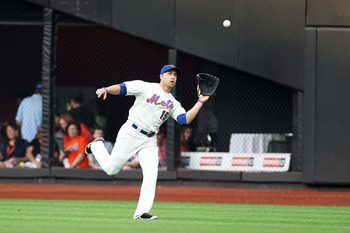 NEW YORK, NY - JUNE 18:  Carlos Beltran #15 of the New York Mets makes a catch against the Los Angeles Angels of Anaheim during their game on June 18, 2011 at Citi Field in the Flushing neighborhood of the Queens borough of New York City.  (Photo by Al Be