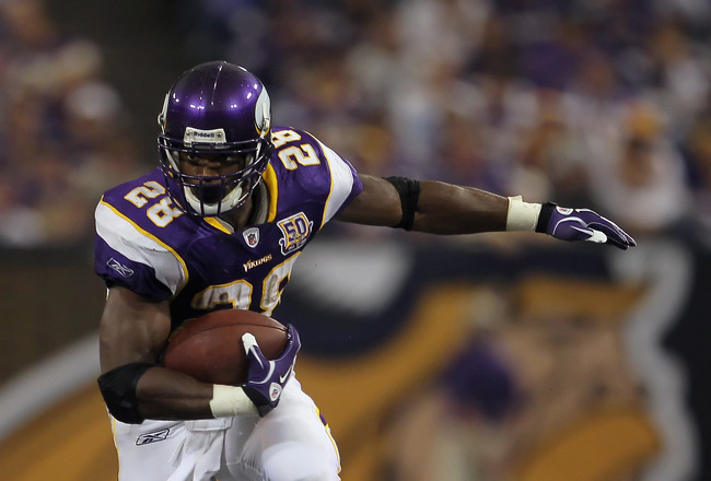 MINNEAPOLIS - SEPTEMBER 26:  Running back Adrian Peterson #28 of the Minnesota Vikings carries the ball against the Detroit Lions at Mall of America Field on September 26, 2010 in Minneapolis, Minnesota. The Vikings defeated the Lions 24-10.  (Photo by Je
