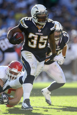 SAN DIEGO - DECEMBER 12:  Running back Mike Tolbert #35 of the San Diego Chargers carries the ball against the Kansas City Chiefs at Qualcomm Stadium on December 12, 2010 in San Diego, California.  (Photo by Stephen Dunn/Getty Images)