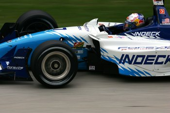 ELKHART LAKE, WI - SEPTEMBER 23:  A.J. Allmendinger driver of the #7 Forsythe Championship Racing Lola Cosworth during practice for the Champ Car World Series Grand Prix of Road America on September 23, 2006 at Road America in Elkhart Lake, Wisconsin.  (P