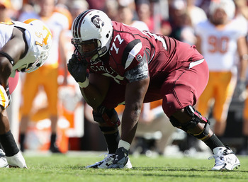 COLUMBIA, SC - OCTOBER 30:  Garrett Chisolm #77of the South Carolina Gamecocks against the Tennessee Volunteers during their game at Williams-Brice Stadium on October 30, 2010 in Columbia, South Carolina.  (Photo by Streeter Lecka/Getty Images)