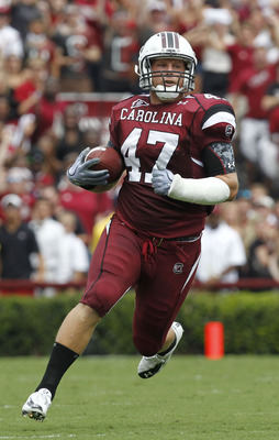 COLUMBIA, SC - SEPTEMBER 11: Fullback Patrick DiMarco #47 of the South Carolina Gamecocks runs with the ball after a reception during the game against the Georgia Bulldogs at Williams-Brice Stadium on September 11, 2010 in Columbia, South Carolina. The Ga