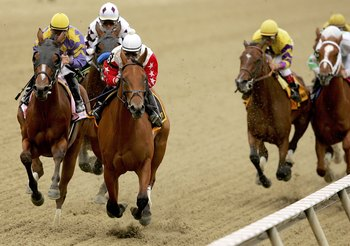 BALTIMORE - MAY 19:  Saratoga Drive #8, ridden by Javier Castellano and Smart N Pretty #6, ridden by Richard Migliore lead the pack down the front stretch of the Black-Eyed Susan during the Pimlico Special at Pimlico Race Course May 19, 2006 in Baltimore,