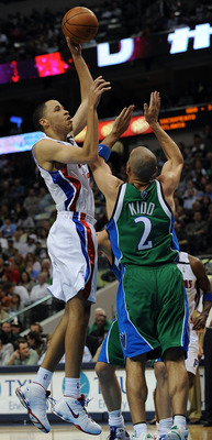 DALLAS - MARCH 17:  Forward Tayshawn Prince #22 of the Detroit Pistons takes a shot against Jason Kidd #2 of the Dallas Mavericks on March 17, 2009 at American Airlines Center in Dallas, Texas.  NOTE TO USER: User expressly acknowledges and agrees that, b