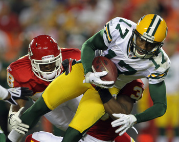 KANSAS CITY, MO - SEPTEMBER 02:  Receiver Charles Dillon #17 of the Green Bay Packers makes a catch during the game against the Kansas City Chiefs on September 2, 2010 at Arrowhead Stadium in Kansas City, Missouri.  (Photo by Jamie Squire/Getty Images)