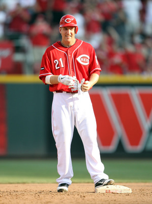 CINCINNATI, OH - JULY 23:  Todd Frazier #21 of the Cincinnati Reds celebrates after hitting a double that drove in three runs during the game against the Atlanta Braves at Great American Ball Park on July 23, 2011 in Cincinnati, Ohio.  (Photo by Andy Lyon