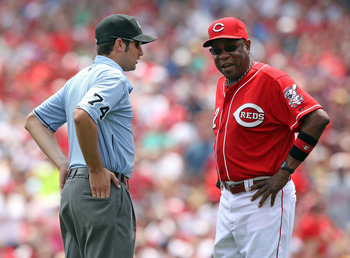 CINCINNATI, OH - JULY 03:  Dusty Baker the manager of the Cincinnati Reds argues a call with umpire John Tumpane during the game against the Cleveland Indians at Great American Ball Park on July 3, 2011 in Cincinnati, Ohio.  (Photo by Andy Lyons/Getty Ima
