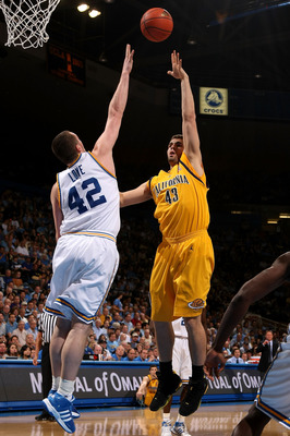 WESTWOOD, CA - MARCH 8: Harper Kamp #43 of the California Golden Bears shoots over Kevin Love #42 of the UCLA Bruins on March 8, 2008 at Pauley Pavillion in Westwood, California.   (Photo by Stephen Dunn/Getty Images)
