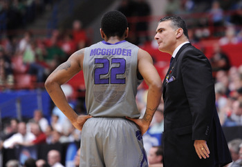 TUCSON, AZ - MARCH 17:  Head coach Frank Martin talks to Rodney McGruder #22 of the Kansas State Wildcats during their game against the Utah State Aggies in the second round of the 2011 NCAA men's basketball tournament at McKale Center on March 17, 2011 i