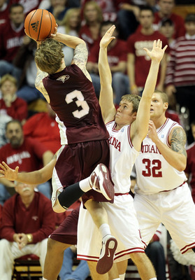 BLOOMINGTON, IN - NOVEMBER 23:  Jordan Hulls #1 of the Indiana Hoosiers defends the shot by Landon Clement #3 of the North Carolina Central Eagles at Assembly Hall on November 23, 2010 in Bloomington, Indiana.  Indiana won 72-56.  (Photo by Andy Lyons/Get