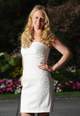 EVIAN-LES-BAINS, FRANCE - JULY 23:  Morgan Pressel of USA poses for a picture at the gala dinner after the third round of the Evian Masters at the Evian Masters golf club on July 23, 2011 in Evian-les-Bains, France.  (Photo by Stuart Franklin/Getty Images