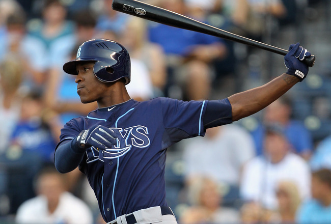 KANSAS CITY, MO - JULY 22:  B.J. Upton #2 of the Tampa Bay Rays swings during the 1st inning of the game against the Kansas City Royals on July 22, 2011 at Kauffman Stadium in Kansas City, Missouri.  (Photo by Jamie Squire/Getty Images)