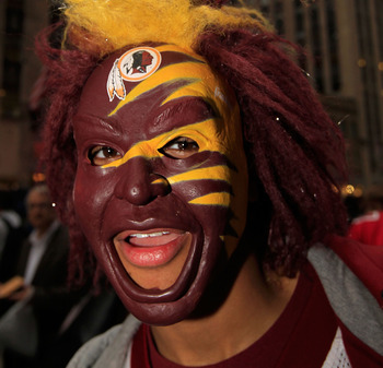 NEW YORK, NY - APRIL 28:  A fan of the Washington Redskins shows support for his team outside Radio City Music Hall prior to the start of the 2011 NFL Draft at Radio City Music Hall on April 28, 2011 in New York City.  (Photo by Chris Trotman/Getty Images