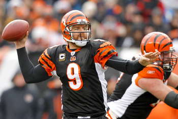 CINCINNATI, OH - DECEMBER 19:  Quarterback Carson Palmer #9 of the Cincinnati Bengals fades back in the poscket while playing the Cleveland Browns at Paul Brown Stadium on December 19, 2010 in Cincinnati, Ohio.  (Photo by Matthew Stockman/Getty Images)