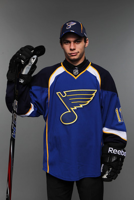 ST PAUL, MN - JUNE 25:  32nd overall pick Ty Rattie by the St. Louis Blues poses for a portrait during day two of the 2011 NHL Entry Draft at Xcel Energy Center on June 25, 2011 in St Paul, Minnesota.  (Photo by Nick Laham/Getty Images)