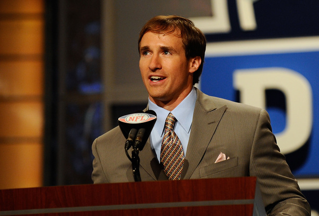 NEW YORK - APRIL 22:  Quarterback Drew Brees of the New Orleans Saints announces that the Saints selected Patrick Robinson from the Florida State with the number 32 overall pick during the first round of the 2010 NFL Draft at Radio City Music Hall on Apri