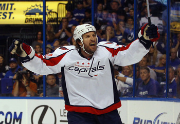 TAMPA, FL - MAY 03:  Mike Knuble #22 of the Washington Capitals argues a second period disallowed goal in Game Three of the Eastern Conference Semifinals during the 2011 NHL Stanley Cup Playoffs at St Pete Times Forum on May 3, 2011 in Tampa, Florida. The