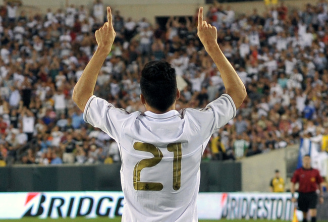 PHILADELPHIA, PA - JULY 23: Jose Maria Calejon of Real Madrid celebrates a goal in the first half during the game against the Philadelphia Union at Lincoln Financial Field on July 23, 2011 in Philadelphia, Pennsylvania. (Photo by Drew Hallowell/Getty Imag