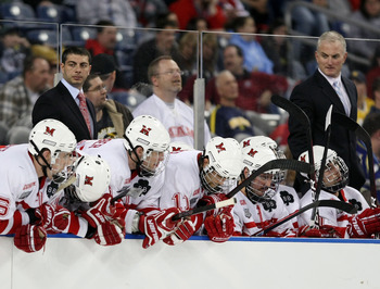 DETROIT - APRIL 08:  The Miami Redhawks bench reacts to their loss to the Boston College Eagles on April 8, 2010 during the semifinals of the 2010 NCAA Frozen Four at Ford Field in Detroit, Michigan. Boston College defeated Miami 7-1.  (Photo by Elsa/Gett