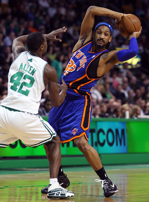 BOSTON - FEBRUARY 13:  Renaldo Balkman #32 of the New York Knicks is pressured by Tony Allen #42 of the Boston Celtics on February 13, 2008 at the TD Banknorth Garden in Boston, Massachusetts.  NOTE TO USER: User expressly acknowledges and agrees that, by