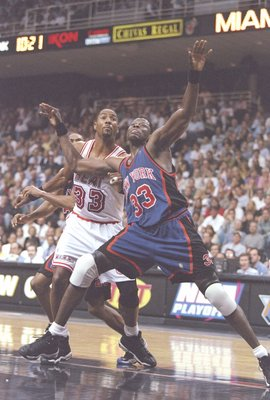 7 May 1997:  Center Patrick Ewing of the New York Knicks and center Alonzo Mourning of the Miami Heat fight for position during a playoff game at the Miami Arena in Miami, Florida.  The Heat won the game 96-81. Mandatory Credit: Andy Lyons  /Allsport