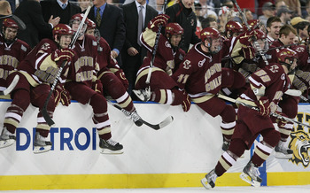 DETROIT - APRIL 10:  The Boston College Eagles celebrate at the end of the championship game of the 2010 NCAA Frozen Four on April 10, 2010 at Ford Field in Detroit, Michigan. Boston College defeated the Wisconsin Badgers 5-0 to win the national title.  (