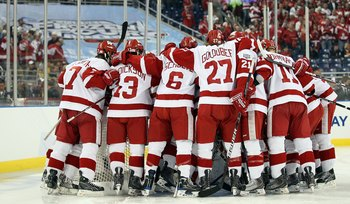 DETROIT - APRIL 10:  The Wisconsin Badgers huddle around their goalie before the game against the Boston College Eagles during the championship game of the 2010 NCAA Frozen Four on April 10, 2010 at Ford Field in Detroit, Michigan.  (Photo by Elsa/Getty I