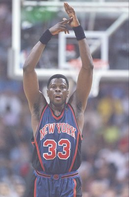 18 May 1997:  Center Patrick Ewing of the New York Knicks shoots the ball during a playoff game against the Miami Heat at the Miami Arena in Miami, Florida.  The Heat won the game 101-90. Mandatory Credit: Andy Lyons  /Allsport