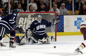 BOSTON - MARCH 19:  Goalie Jeff Pietrasiak #29 of the University of New Hampshire Wildcats makes a save in the first period against the Boston College Eagles on March 19, 2005 at the Fleet Center in Boston, Massachusetts.  (Photo by Steve Babineau/Getty I