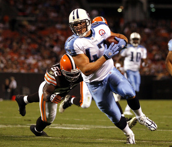 CLEVELAND - AUGUST 29:  Matthew Mulligan #47 of the Tennessee Titans scores a touchdown in front of D'Qwell Jackson #52 of the Cleveland Browns at Cleveland Browns Stadium on August 29, 2009 in Cleveland, Ohio.  (Photo by Matt Sullivan/Getty Images)
