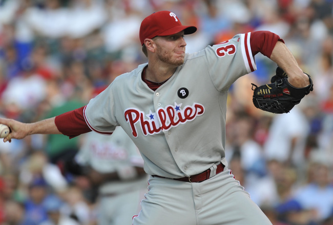 CHICAGO, IL - JULY 18: Roy Halladay #34 of the Philadelphia Phillies pitches against the Chicago Cubs on July 18, 2011 at Wrigley Field in Chicago, Illinois.  (Photo by David Banks/Getty Images)