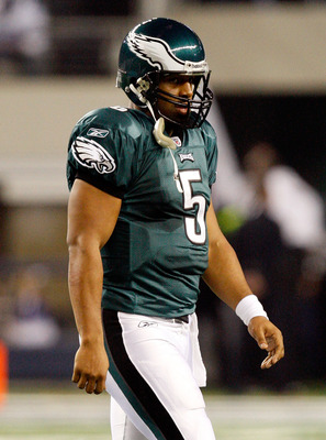 ARLINGTON, TX - JANUARY 03:  Quarterback Donovan McNabb #5 of the Philadelphia Eagles walks off the field during a 24-0 loss against the Dallas Cowboys at Cowboys Stadium on January 3, 2010 in Arlington, Texas.  (Photo by Ronald Martinez/Getty Images)