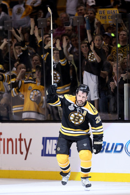 BOSTON, MA - JUNE 13:  Mark Recchi #28 of the Boston Bruins celebrates after defeating the Vancouver Canucks in Game Six of the 2011 NHL Stanley Cup Final at TD Garden on June 13, 2011 in Boston, Massachusetts. The Boston Bruins defeated the Vancouver Can