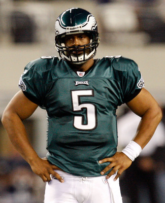 ARLINGTON, TX - JANUARY 03:  Quarterback Donovan McNabb #5 of the Philadelphia Eagles reacts during a 24-0 loss against the Dallas Cowboys at Cowboys Stadium on January 3, 2010 in Arlington, Texas.  (Photo by Ronald Martinez/Getty Images)