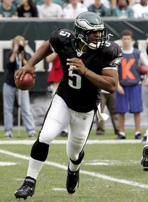 PHILADELPHIA - SEPTEMBER 25:  Quarterback Donovan McNabb #5 of the Philadelphia Eagles scrambles against the Oakland Raiders on September 25, 2005 at Lincoln Financial Field in Philadelphia, Pennsylvannia. The Eagles defeated the Raiders 23-20.  (Photo by