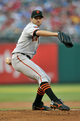 PHILADELPHIA, PA - JULY 26: Starting pitcher Barry Zito #75 of the San Francisco Giants delivers a pitch during the game against the Philadelphia Phillies at Citizens Bank Park on July 26, 2011 in Philadelphia, Pennsylvania. (Photo by Drew Hallowell/Getty