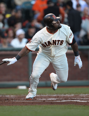 SAN FRANCISCO, CA - JULY 19:  Pablo Sandoval #48 of the San Francisco Giants singles in the first inning against the Los Angeles Dodgers at AT&amp;T Park on July 19, 2011 in San Francisco, California.  (Photo by Jed Jacobsohn/Getty Images)